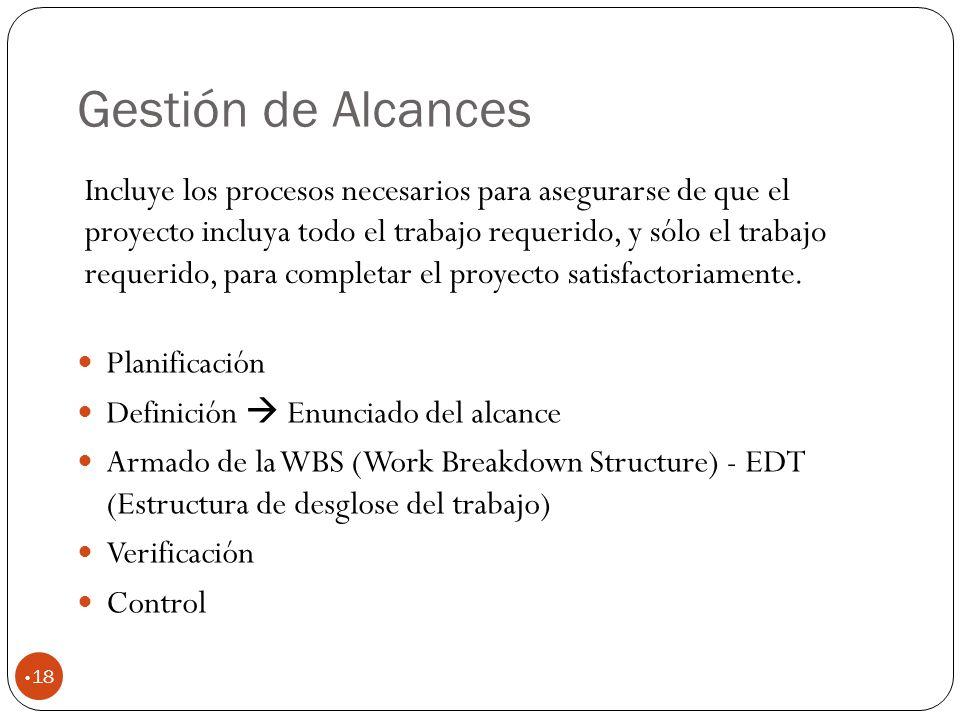 Gestión de Alcances 18 Planificación Definición Enunciado del alcance Armado de la WBS (Work Breakdown Structure) - EDT (Estructura de desglose del trabajo) Verificación Control Incluye los procesos necesarios para asegurarse de que el proyecto incluya todo el trabajo requerido, y sólo el trabajo requerido, para completar el proyecto satisfactoriamente.