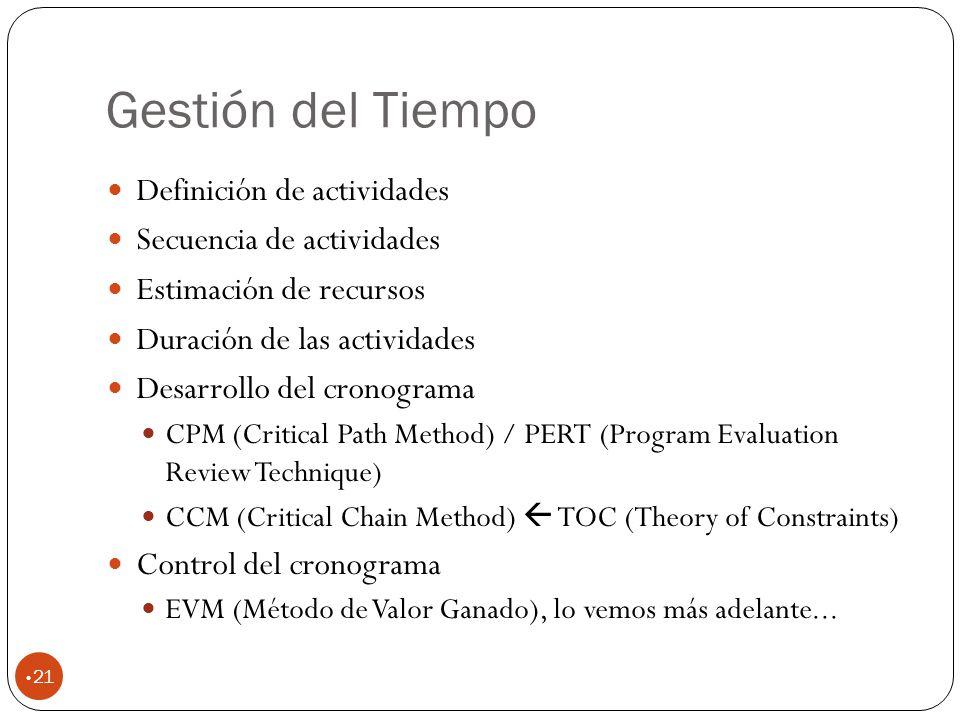 Gestión del Tiempo 21 Definición de actividades Secuencia de actividades Estimación de recursos Duración de las actividades Desarrollo del cronograma CPM (Critical Path Method) / PERT (Program Evaluation Review Technique) CCM (Critical Chain Method) TOC (Theory of Constraints) Control del cronograma EVM (Método de Valor Ganado), lo vemos más adelante...