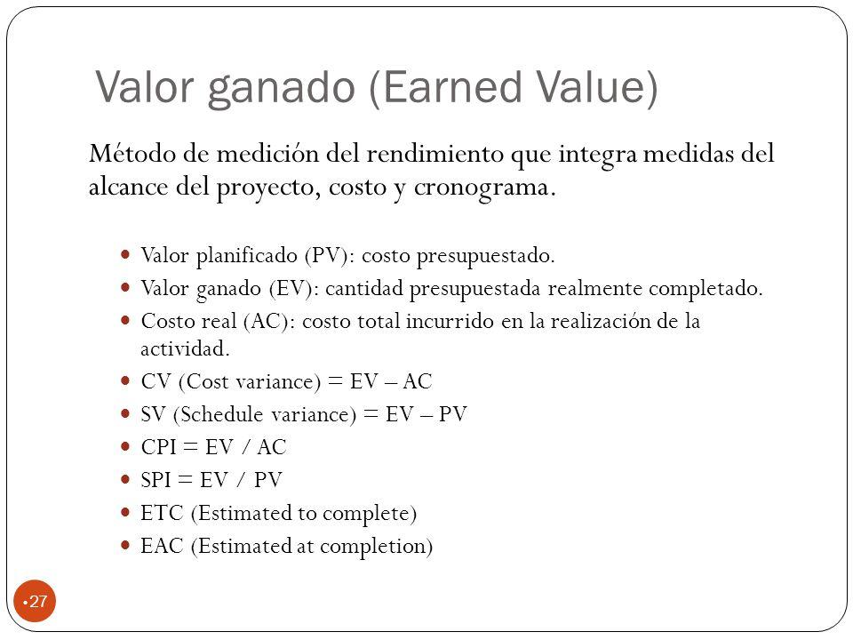 Valor ganado (Earned Value) 27 Método de medición del rendimiento que integra medidas del alcance del proyecto, costo y cronograma.