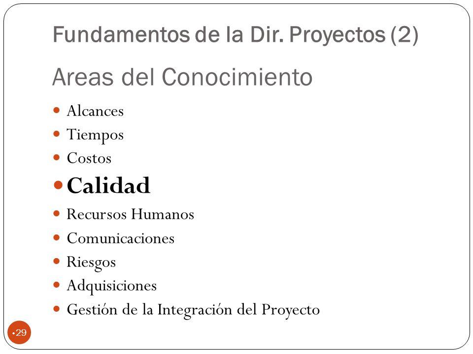 Areas del Conocimiento 29 Alcances Tiempos Costos Calidad Recursos Humanos Comunicaciones Riesgos Adquisiciones Gestión de la Integración del Proyecto Fundamentos de la Dir.