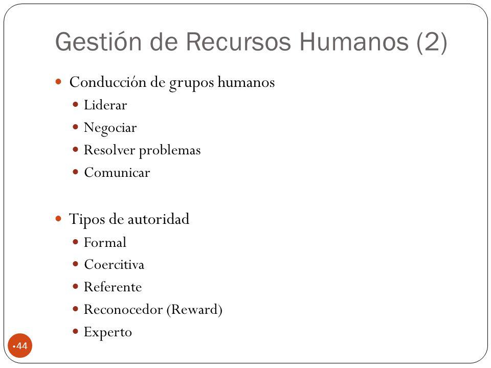 Gestión de Recursos Humanos (2) 44 Conducción de grupos humanos Liderar Negociar Resolver problemas Comunicar Tipos de autoridad Formal Coercitiva Referente Reconocedor (Reward) Experto