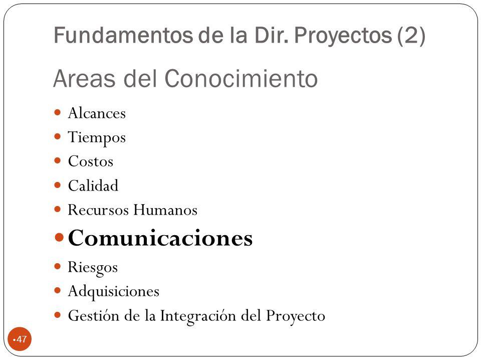 Areas del Conocimiento 47 Alcances Tiempos Costos Calidad Recursos Humanos Comunicaciones Riesgos Adquisiciones Gestión de la Integración del Proyecto Fundamentos de la Dir.