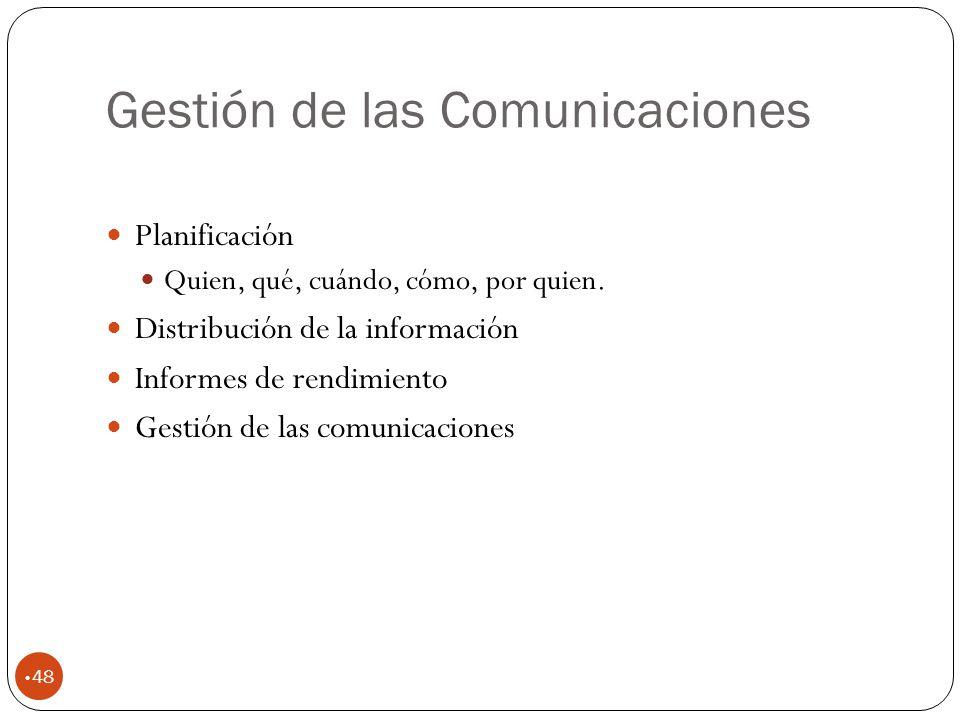 Gestión de las Comunicaciones 48 Planificación Quien, qué, cuándo, cómo, por quien.