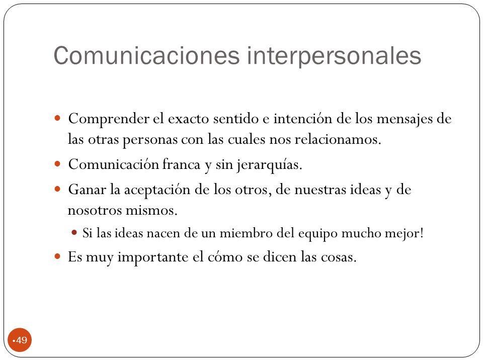 Comunicaciones interpersonales 49 Comprender el exacto sentido e intención de los mensajes de las otras personas con las cuales nos relacionamos.