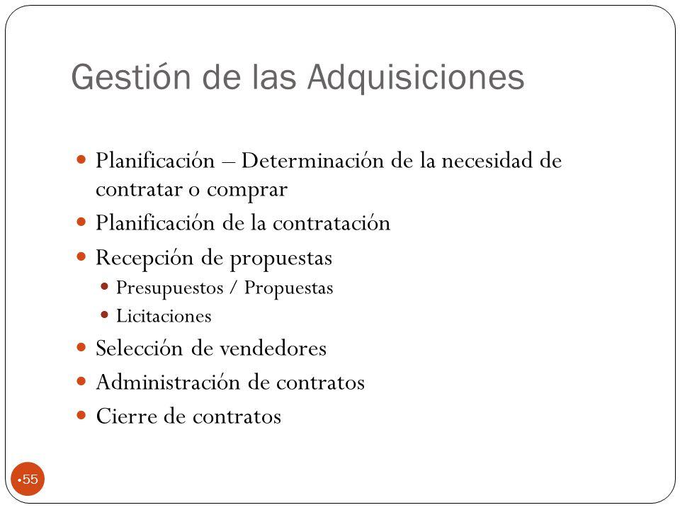 Gestión de las Adquisiciones 55 Planificación – Determinación de la necesidad de contratar o comprar Planificación de la contratación Recepción de propuestas Presupuestos / Propuestas Licitaciones Selección de vendedores Administración de contratos Cierre de contratos