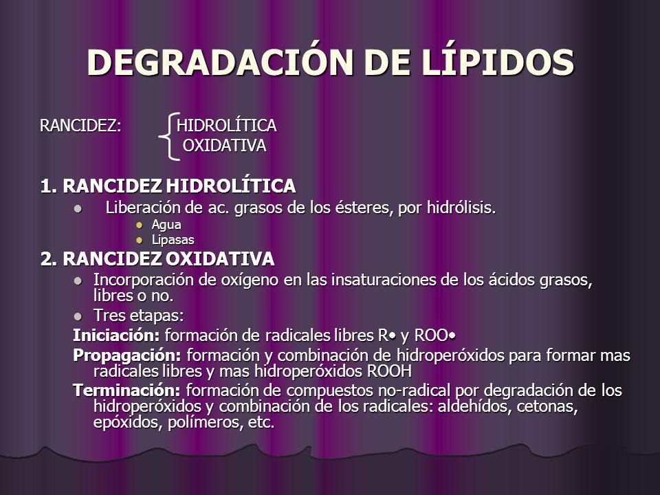 RANCIDEZ: HIDROLÍTICA OXIDATIVA 1. RANCIDEZ HIDROLÍTICA Liberación de ac. grasos de los ésteres, por hidrólisis. Agua Lipasas 2. RANCIDEZ OXIDATIVA In