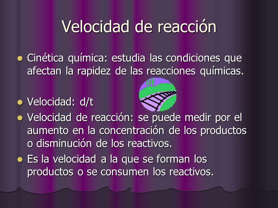 Velocidad de reacción Cinética química: estudia las condiciones que afectan la rapidez de las reacciones químicas. Cinética química: estudia las condi