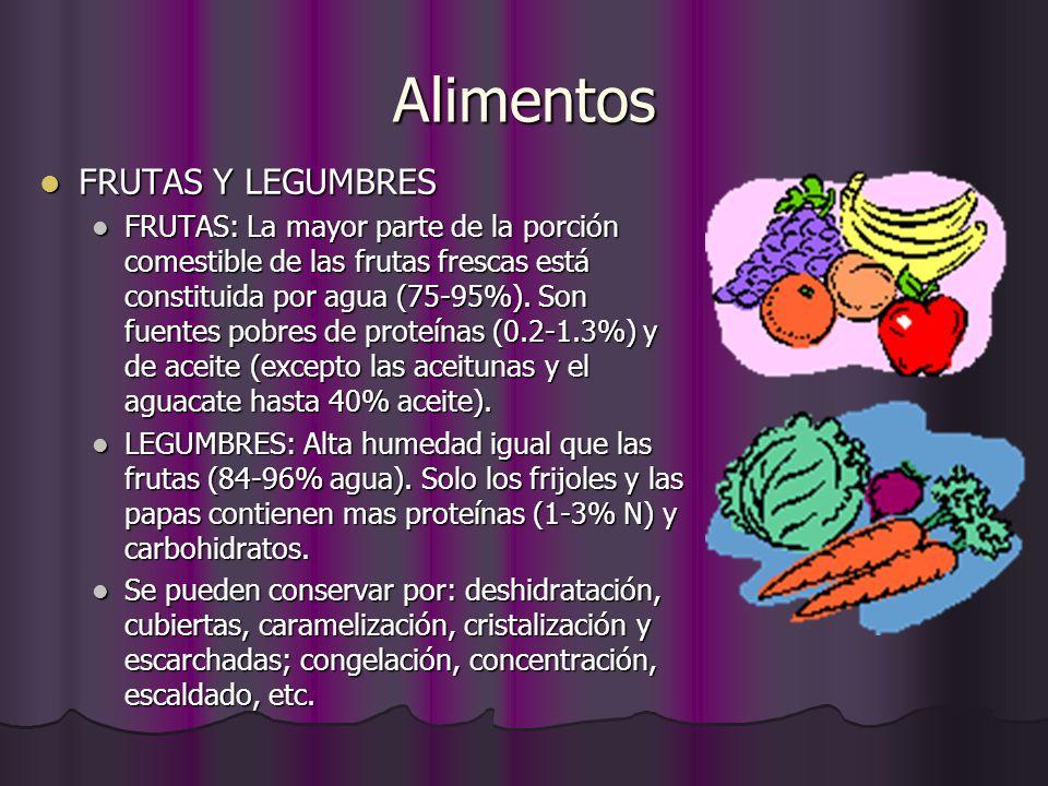 Alimentos FRUTAS Y LEGUMBRES FRUTAS Y LEGUMBRES FRUTAS: La mayor parte de la porción comestible de las frutas frescas está constituida por agua (75-95
