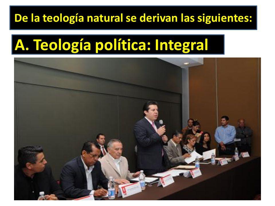 De la teología natural se derivan las siguientes: A. Teología política: Integral