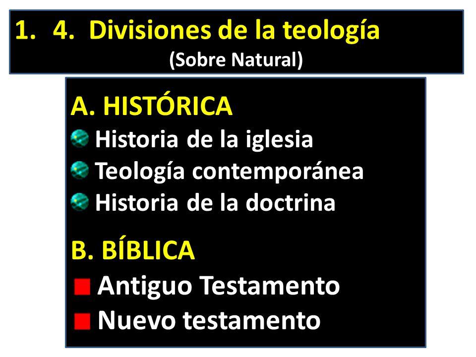 1.4. Divisiones de la teología (Sobre Natural) A. HISTÓRICA Historia de la iglesia Teología contemporánea Historia de la doctrina B. BÍBLICA Antiguo T