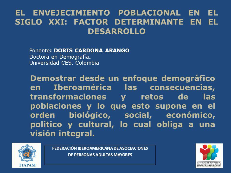 EL ENVEJECIMIENTO POBLACIONAL EN EL SIGLO XXI: FACTOR DETERMINANTE EN EL DESARROLLO Demostrar desde un enfoque demográfico en Iberoamérica las consecu
