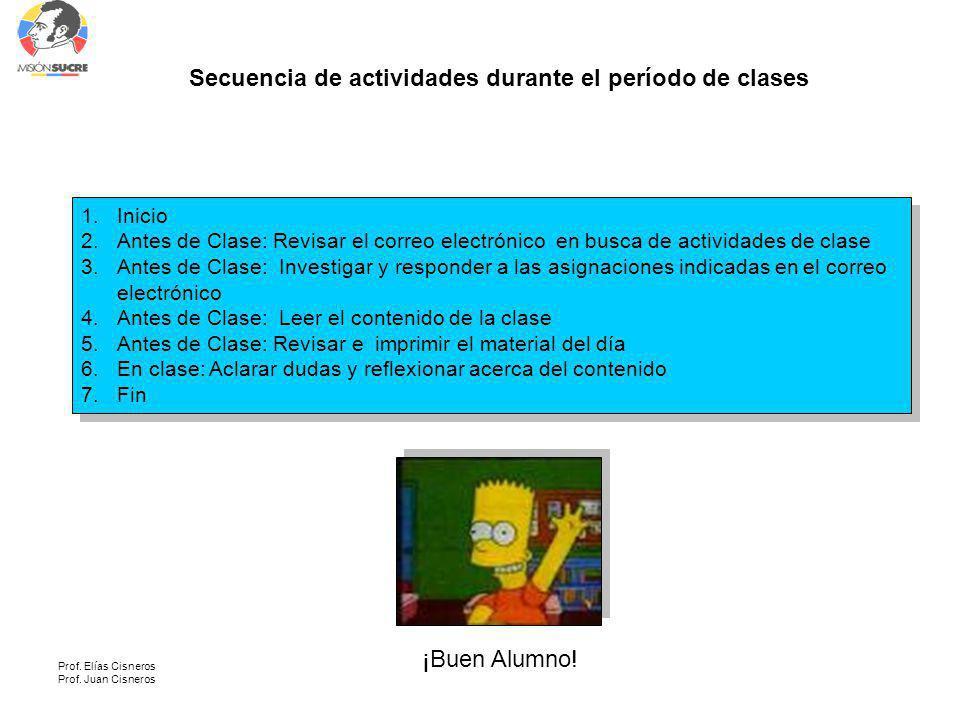 Prof. Elías Cisneros Prof. Juan Cisneros Secuencia de actividades durante el período de clases 1.Inicio 2.Antes de Clase: Revisar el correo electrónic