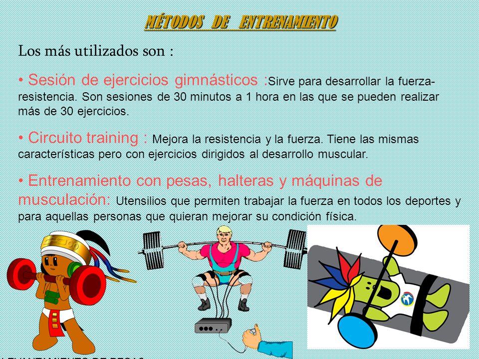 MÉTODOS DE ENTRENAMIENTO Los más utilizados son : Sesión de ejercicios gimnásticos : Sirve para desarrollar la fuerza- resistencia. Son sesiones de 30