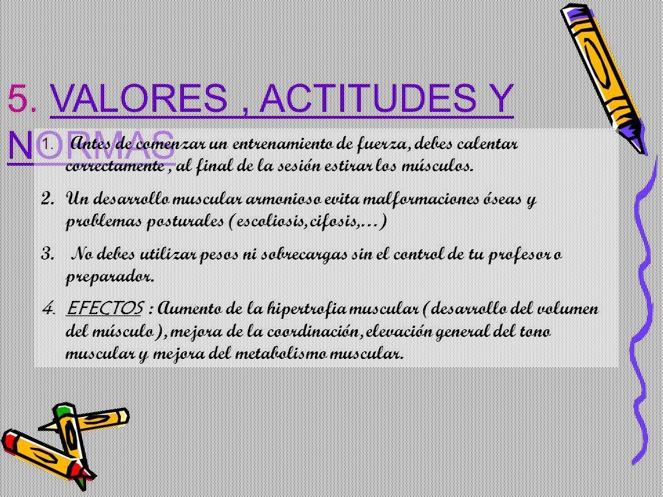 5. VALORES, ACTITUDES Y NORMAS 1. Antes de comenzar un entrenamiento de fuerza, debes calentar correctamente, al final de la sesión estirar los múscul
