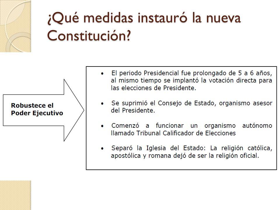 ¿Qué medidas instauró la nueva Constitución?