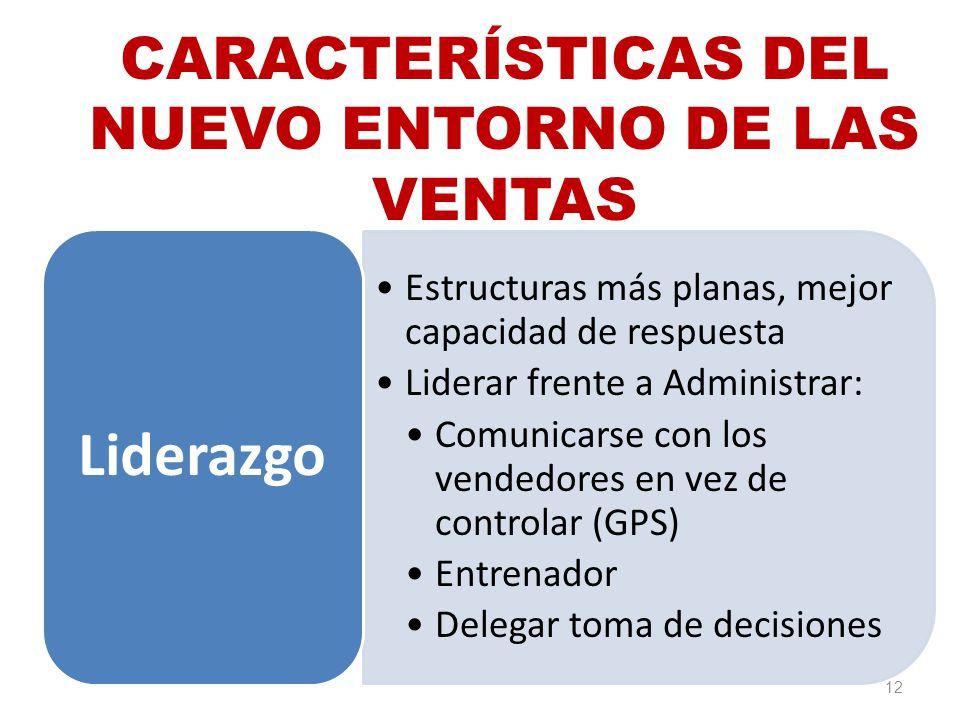 12 CARACTERÍSTICAS DEL NUEVO ENTORNO DE LAS VENTAS Estructuras más planas, mejor capacidad de respuesta Liderar frente a Administrar: Comunicarse con