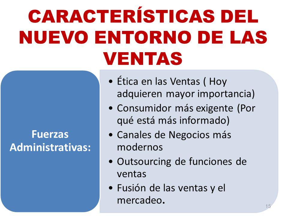 CARACTERÍSTICAS DEL NUEVO ENTORNO DE LAS VENTAS Ética en las Ventas ( Hoy adquieren mayor importancia) Consumidor más exigente (Por qué está más infor