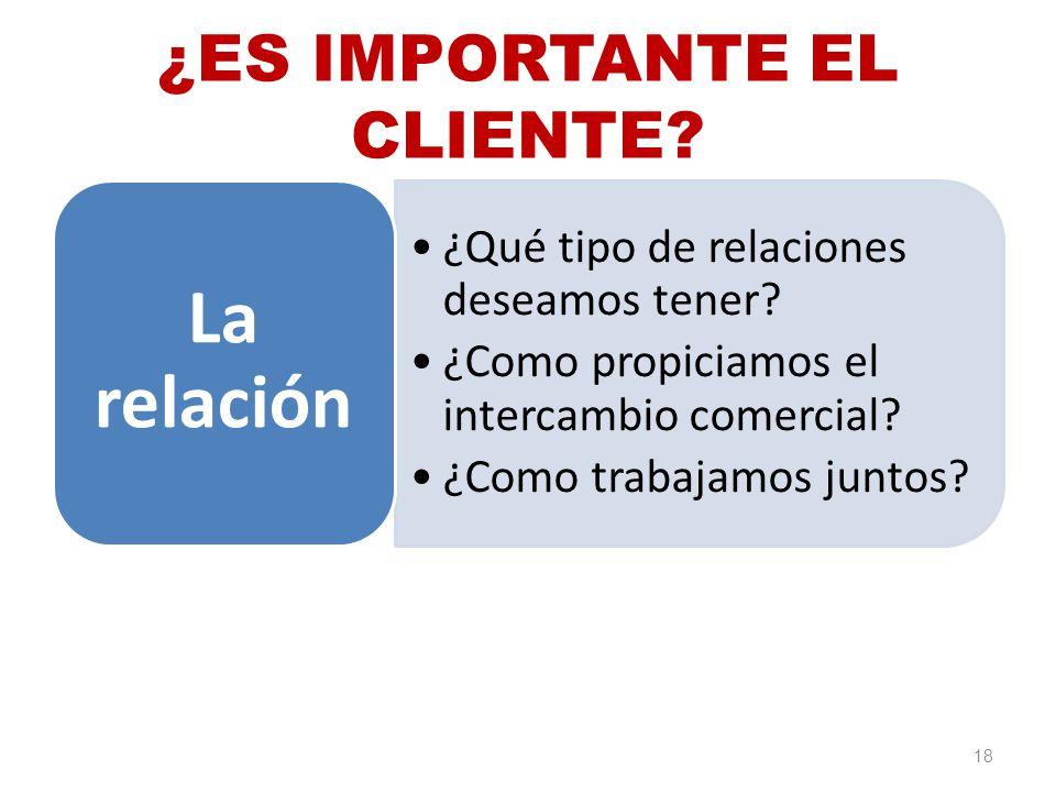 ¿ES IMPORTANTE EL CLIENTE? ¿Qué tipo de relaciones deseamos tener? ¿Como propiciamos el intercambio comercial? ¿Como trabajamos juntos? La relación 18