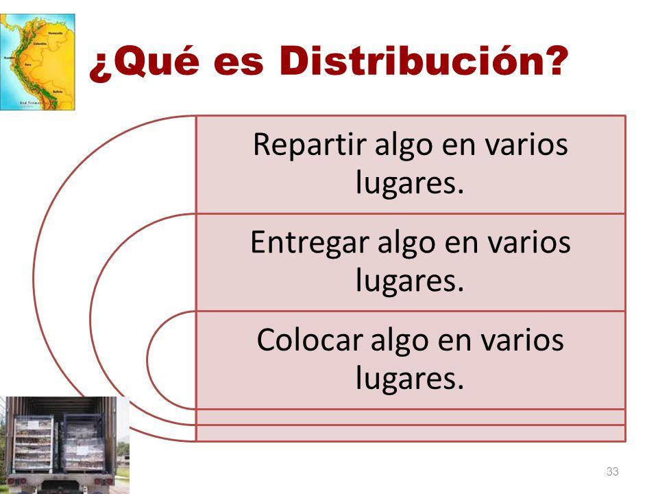 ¿Qué es Distribución? Repartir algo en varios lugares. Entregar algo en varios lugares. Colocar algo en varios lugares. 33