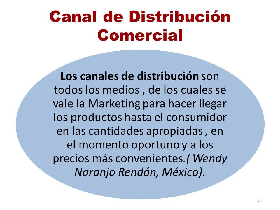 Canal de Distribución Comercial Los canales de distribución son todos los medios, de los cuales se vale la Marketing para hacer llegar los productos h