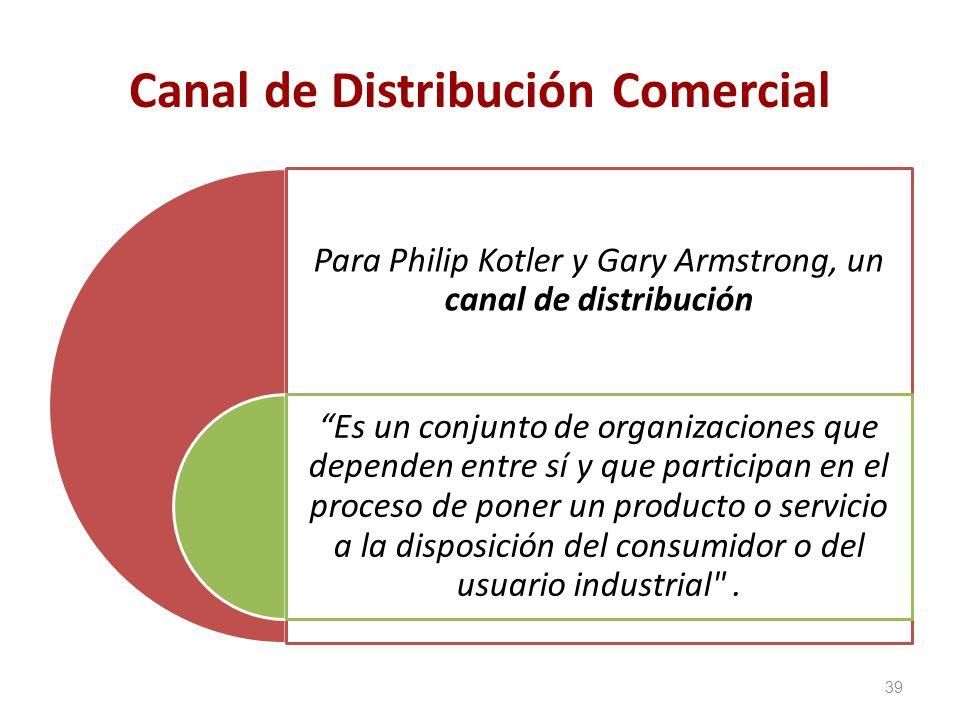 Canal de Distribución Comercial Para Philip Kotler y Gary Armstrong, un canal de distribución Es un conjunto de organizaciones que dependen entre sí y