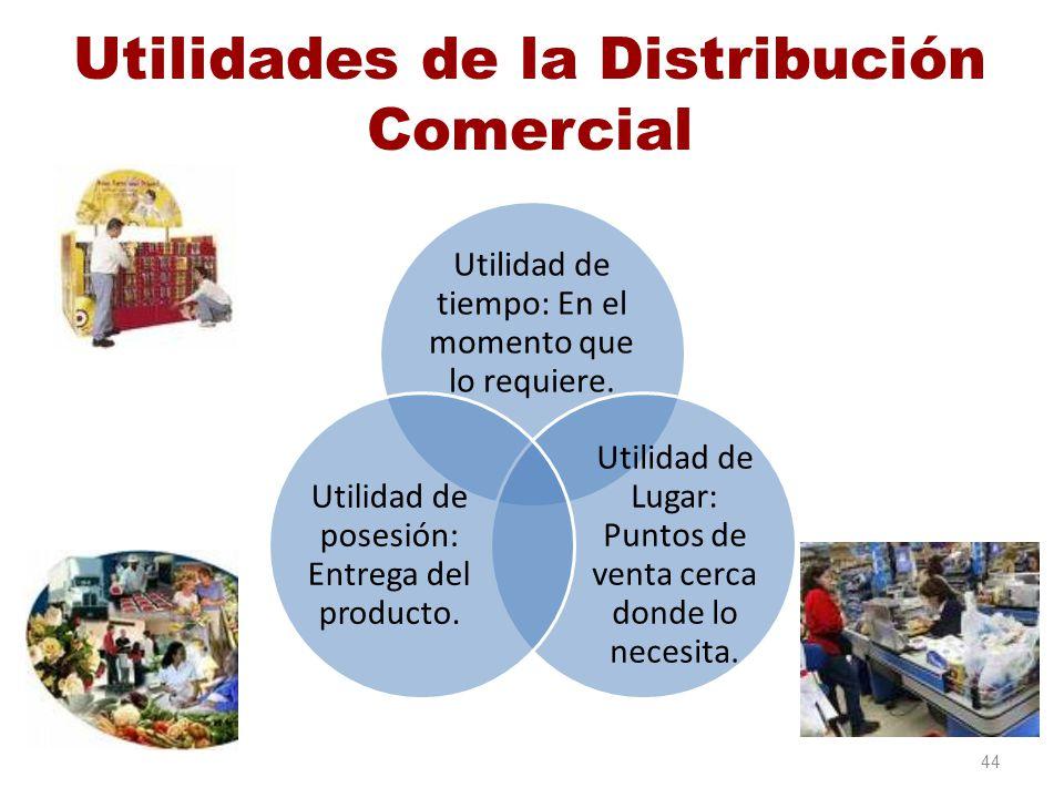 Utilidades de la Distribución Comercial Utilidad de tiempo: En el momento que lo requiere. Utilidad de Lugar: Puntos de venta cerca donde lo necesita.