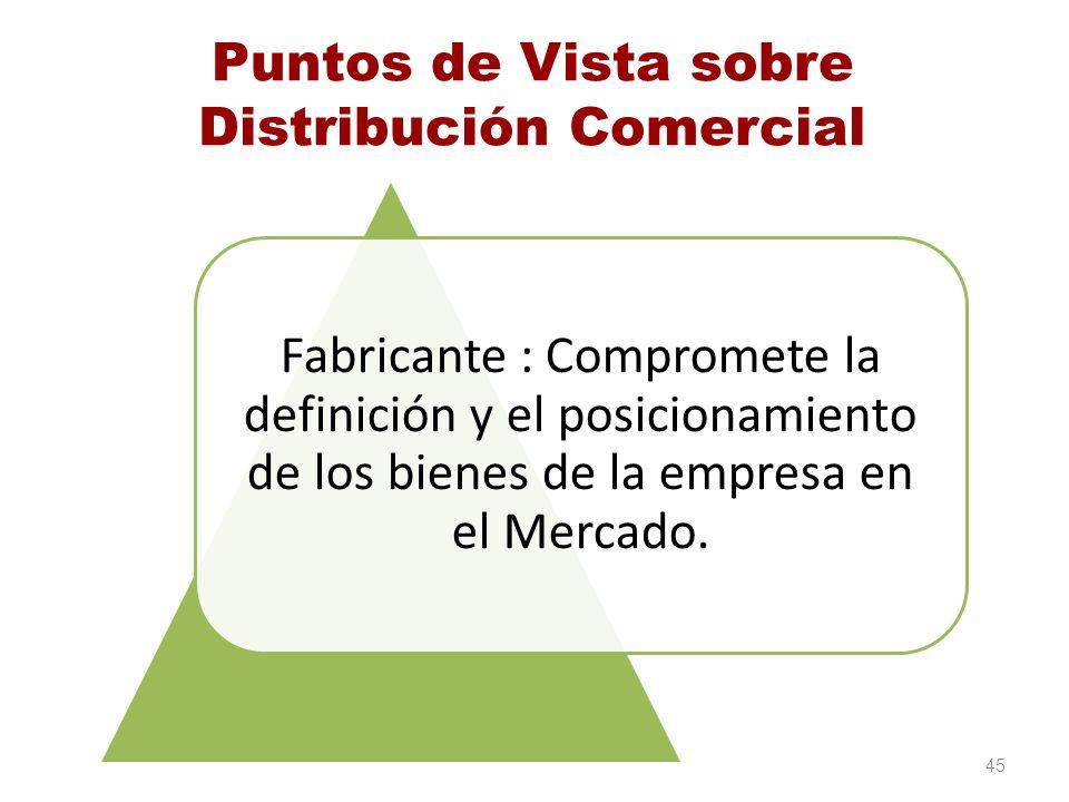 Puntos de Vista sobre Distribución Comercial Fabricante : Compromete la definición y el posicionamiento de los bienes de la empresa en el Mercado. 45