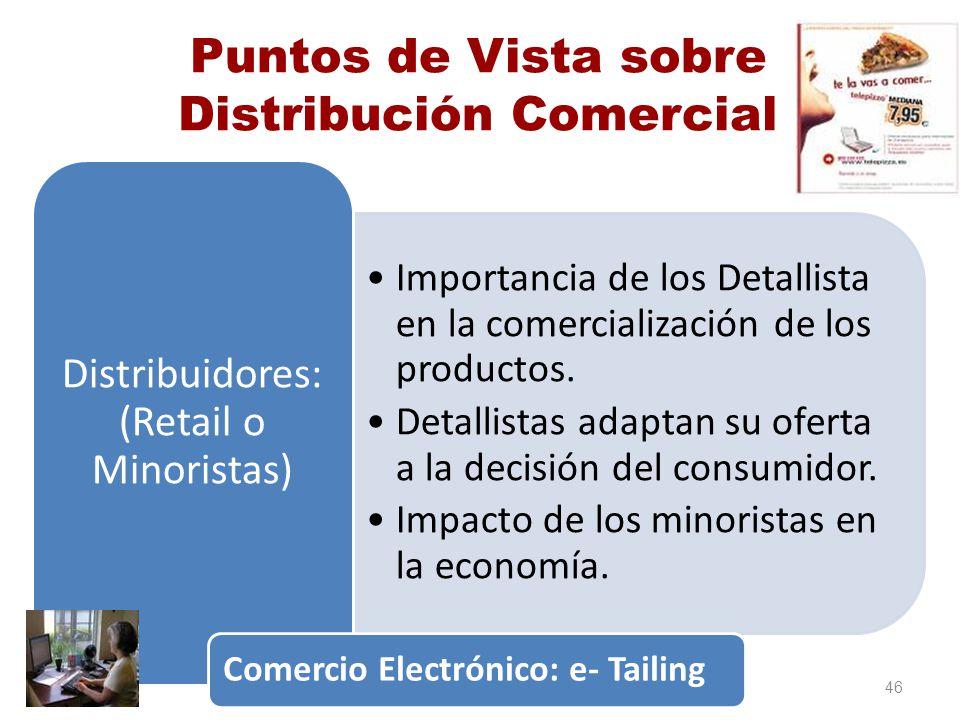 Puntos de Vista sobre Distribución Comercial Importancia de los Detallista en la comercialización de los productos. Detallistas adaptan su oferta a la