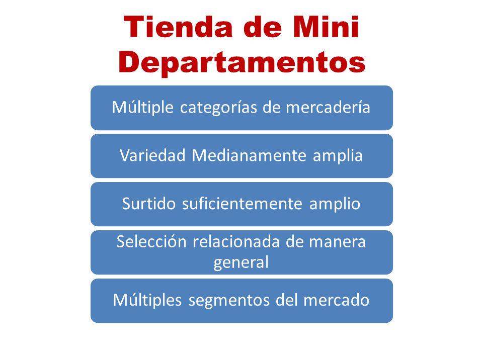 Tienda de Mini Departamentos Múltiple categorías de mercaderíaVariedad Medianamente ampliaSurtido suficientemente amplio Selección relacionada de mane
