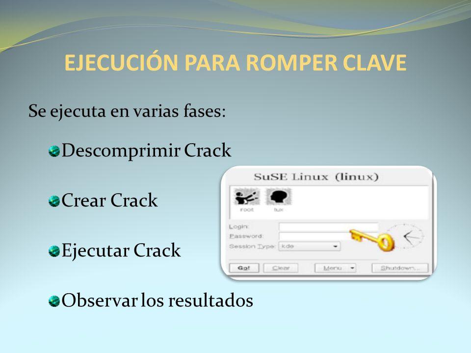 EJECUCIÓN PARA ROMPER CLAVE Se ejecuta en varias fases: Descomprimir Crack Crear Crack Ejecutar Crack Observar los resultados