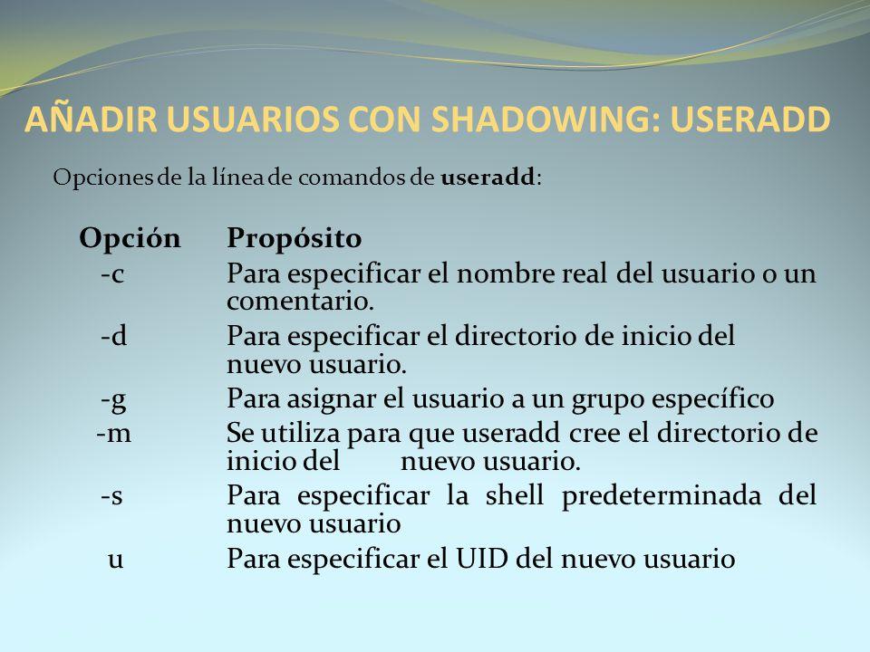 Opciones de la línea de comandos de useradd: OpciónPropósito -cPara especificar el nombre real del usuario o un comentario. -dPara especificar el dire