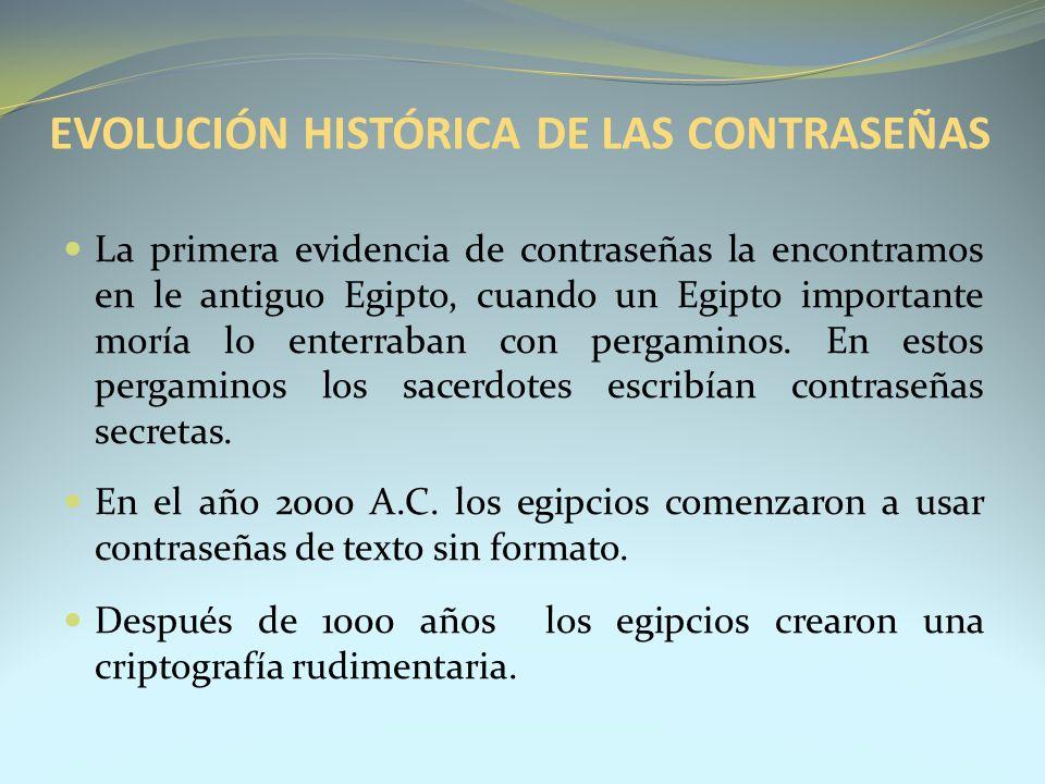 EVOLUCIÓN HISTÓRICA DE LAS CONTRASEÑAS La primera evidencia de contraseñas la encontramos en le antiguo Egipto, cuando un Egipto importante moría lo e