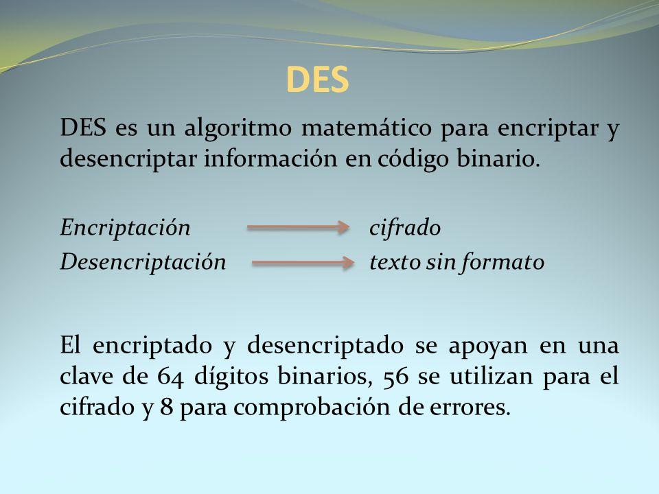 DES DES es un algoritmo matemático para encriptar y desencriptar información en código binario. Encriptación cifrado Desencriptación texto sin formato