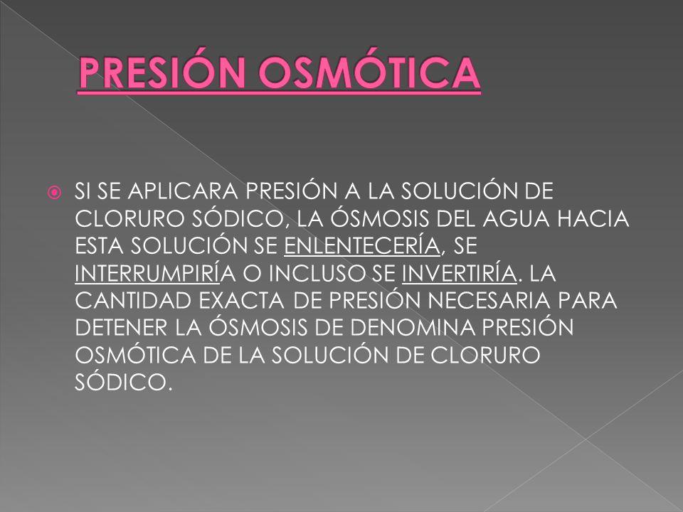 LA PRESENCIA DE ÓSMOSIS DE LA CÁMARA B HACIA LA CÁMARA A.