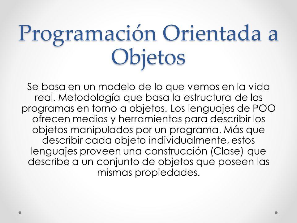 Programación Orientada a Objetos Se basa en un modelo de lo que vemos en la vida real. Metodología que basa la estructura de los programas en torno a