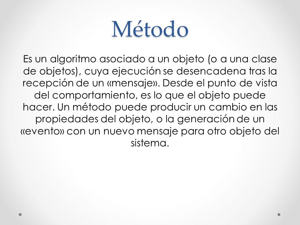 Método Es un algoritmo asociado a un objeto (o a una clase de objetos), cuya ejecución se desencadena tras la recepción de un «mensaje». Desde el punt