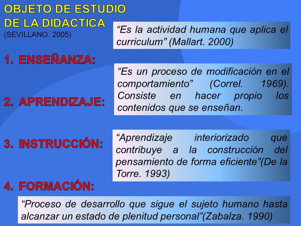 Es la actividad humana que aplica el curriculum (Mallart. 2000) Aprendizaje interiorizado que contribuye a la construcción del pensamiento de forma ef