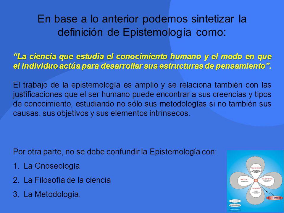 En base a lo anterior podemos sintetizar la definición de Epistemología como: La ciencia que estudia el conocimiento humano y el modo en que el indivi