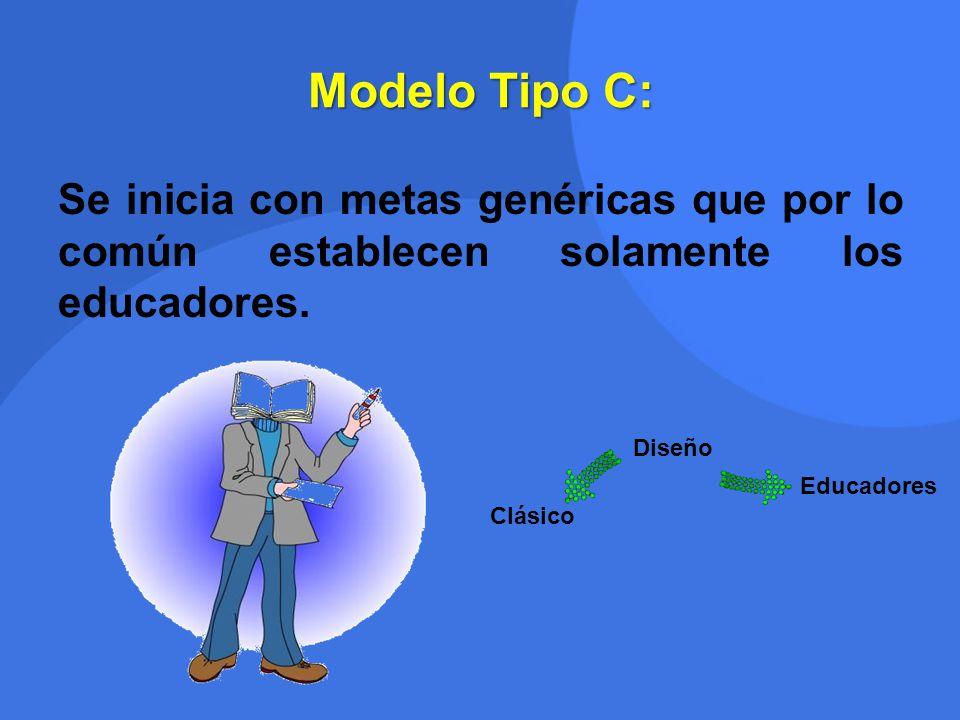 Modelo Tipo C: Se inicia con metas genéricas que por lo común establecen solamente los educadores. Clásico Diseño Educadores