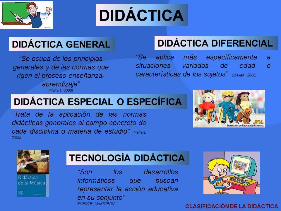 DIDÁCTICA DIDÁCTICA GENERAL DIDÁCTICA DIFERENCIAL DIDÁCTICA ESPECIAL O ESPECÍFICA TECNOLOGÍA DIDÁCTICA Se ocupa de los principios generales y de las n