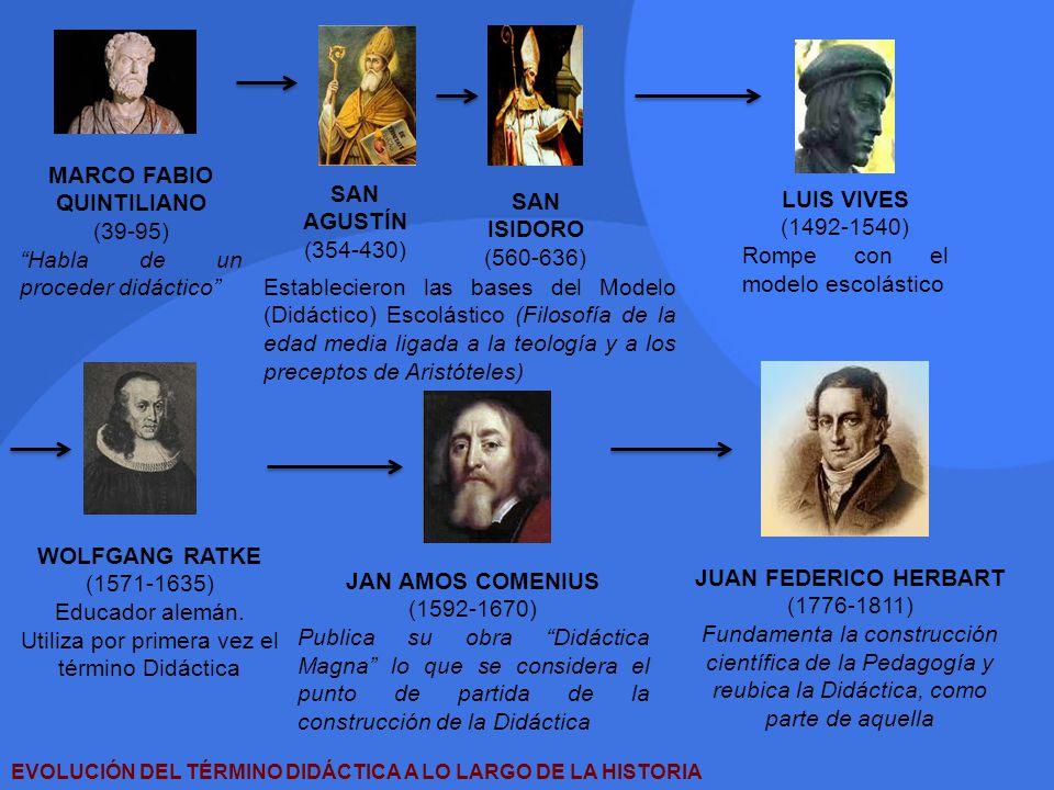 EVOLUCIÓN DEL TÉRMINO DIDÁCTICA A LO LARGO DE LA HISTORIA MARCO FABIO QUINTILIANO (39-95) Habla de un proceder didáctico SAN AGUSTÍN (354-430) SAN ISI