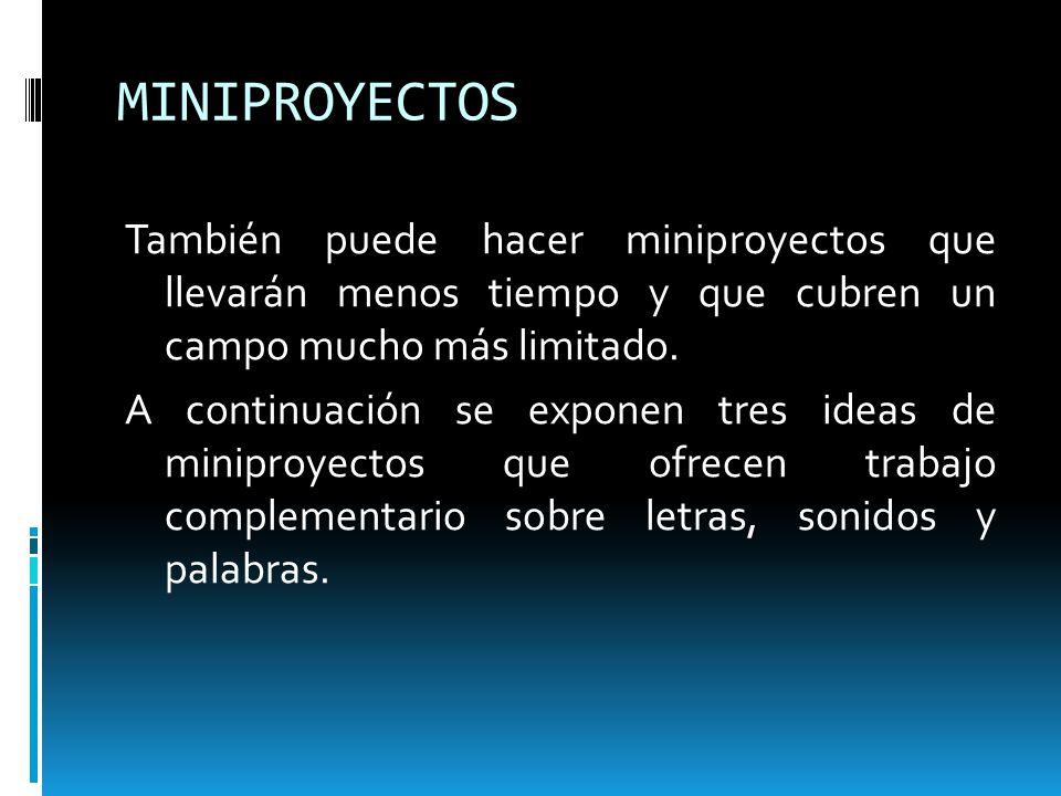 MINIPROYECTOS También puede hacer miniproyectos que llevarán menos tiempo y que cubren un campo mucho más limitado. A continuación se exponen tres ide