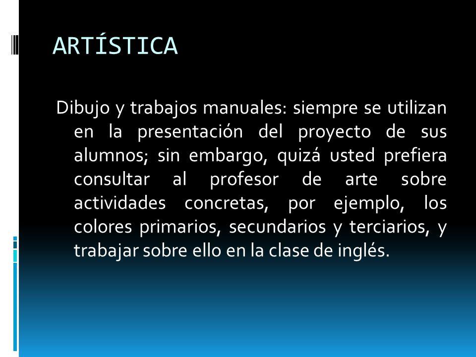 ARTÍSTICA Dibujo y trabajos manuales: siempre se utilizan en la presentación del proyecto de sus alumnos; sin embargo, quizá usted prefiera consultar