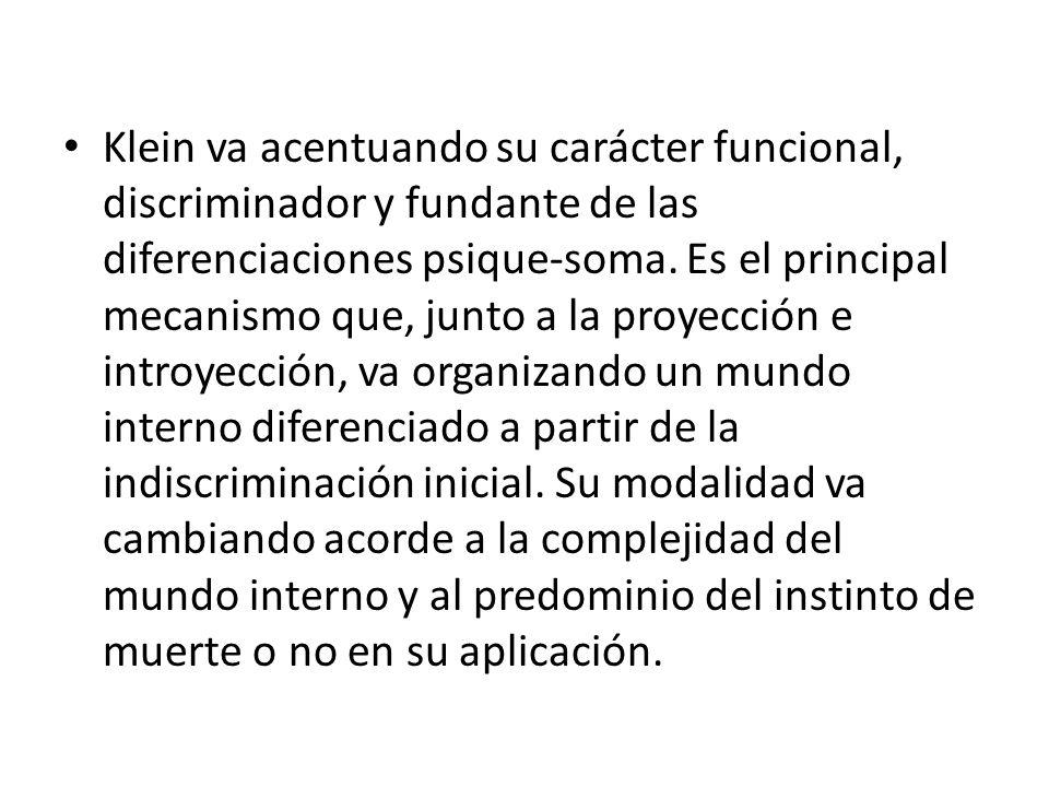 Klein va acentuando su carácter funcional, discriminador y fundante de las diferenciaciones psique-soma. Es el principal mecanismo que, junto a la pro