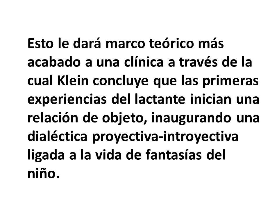 Esto le dará marco teórico más acabado a una clínica a través de la cual Klein concluye que las primeras experiencias del lactante inician una relación de objeto, inaugurando una dialéctica proyectiva-introyectiva ligada a la vida de fantasías del niño.