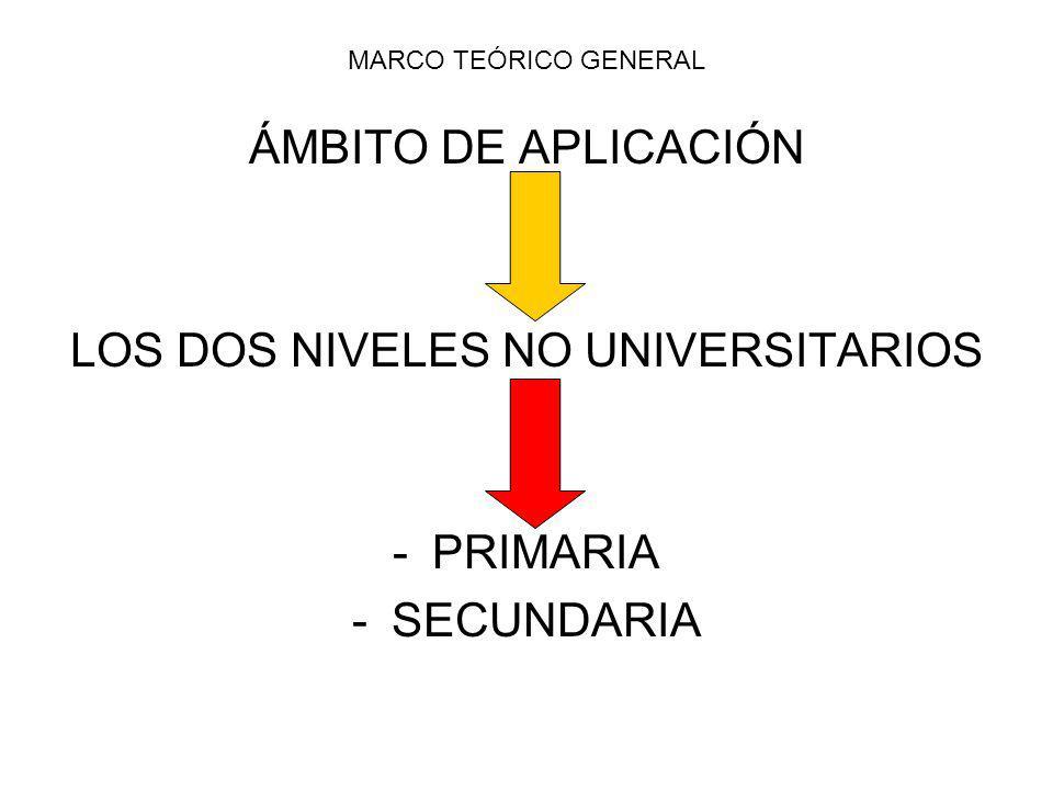 MARCO TEÓRICO GENERAL ÁMBITO DE APLICACIÓN LOS DOS NIVELES NO UNIVERSITARIOS -PRIMARIA -SECUNDARIA