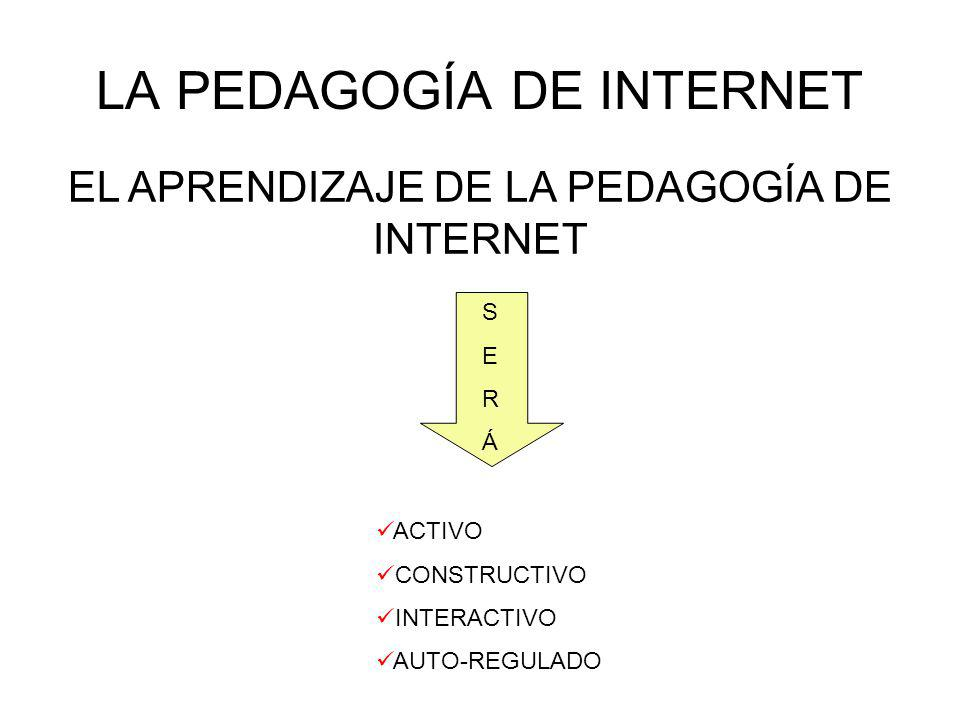 LA PEDAGOGÍA DE INTERNET EL APRENDIZAJE DE LA PEDAGOGÍA DE INTERNET SERÁSERÁ ACTIVO CONSTRUCTIVO INTERACTIVO AUTO-REGULADO