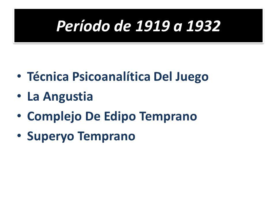 Técnica Psicoanalítica Del Juego La Angustia Complejo De Edipo Temprano Superyo Temprano Período de 1919 a 1932
