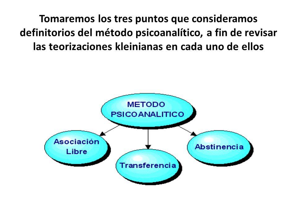 Tomaremos los tres puntos que consideramos definitorios del método psicoanalítico, a fin de revisar las teorizaciones kleinianas en cada uno de ellos
