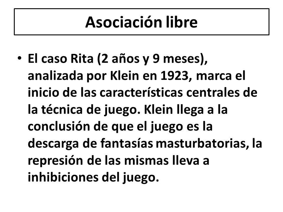 El caso Rita (2 años y 9 meses), analizada por Klein en 1923, marca el inicio de las características centrales de la técnica de juego. Klein llega a l